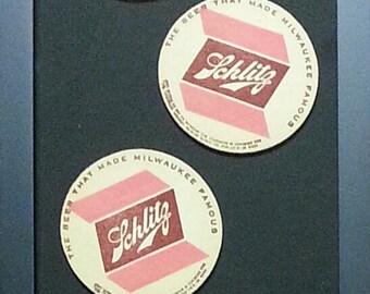 Schlitz Vintage Beer Coasters--Framed Set of 4