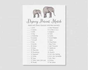 Elephant Baby Shower Disney Parent Match Game - Match the Disney Characters with their Parent - Printable Elephant Baby Shower Game - 0052