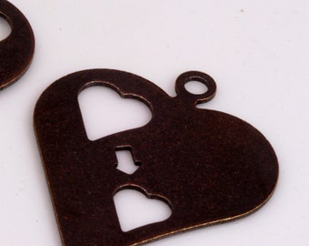 9 pcs 35 x 30 mm (thickness 0.8 mm 20 gauge) antique copper tone heart shape tag stamp tag charms with 1 hole ,findings 1037AC-32