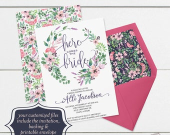 Printable Bridal Shower Invitation Template, Watercolor Floral Bridal Shower Invitations Template, Watercolor Flowers, Pink, Purple