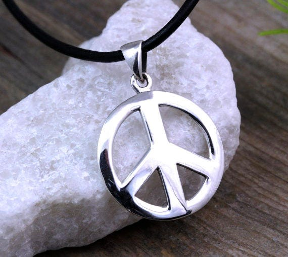 Sterling silver peace sign necklace peace necklace silver like this item mozeypictures Choice Image