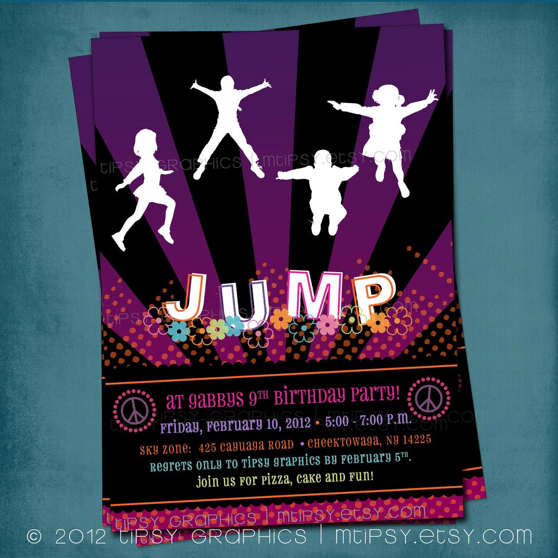 Trampoline Bounce Birthday Party Invitation. Girly PEACE &