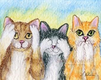 cat kitten 5x7 8x10 11x14 art print tabby tuxedo ginger three wise monkeys hear no evil see speak from Susan Alison watercolour painting