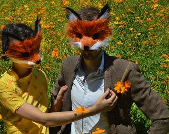 Pair of Red Fox Masks, handmade