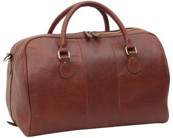 Leather Duffel Bag in Brown made of Genuine Italian Leather - Travel Bag - Leather Bag - Laptop Bag - Leather Briefcase - Mens Gift
