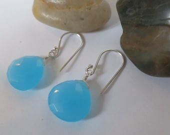 Blue chalcedony earrings, 92.5 sterling silver hooks,free shipping