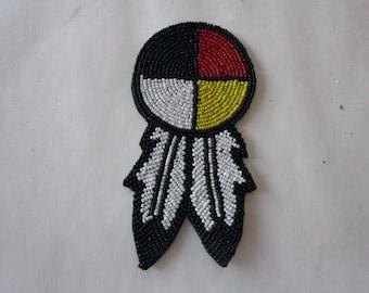 "3"" Glass Beaded Rosette  Medicine Wheel 4 Direction w/feathers Tribal Regalia Beadwork Craft"