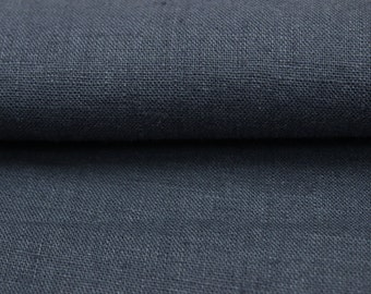 Dark grey color 100 % washed Linen fabric (200 g/m2). Densely woven, softened, washed linen dark grey color fabric