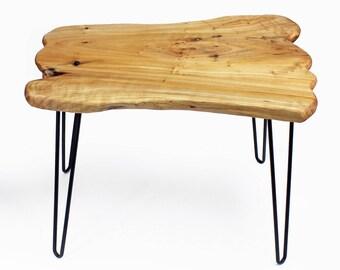 "Live Edge Coffee Table, Reclaimed Wood Coffee Table, Live Edge Table, Small Coffee Table, Hairpin, Living Room Decor, 20.5"" Tall, HW950-542"