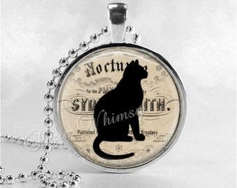 BLACK CAT Pendant Necklace Jewelry Charm, Glass Photo Art Necklace Pendant, Cat Silhouette, Black Cat Jewelry