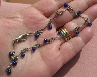 Retro Blue Iridescent Beaded Linked Anklet Missing Bead