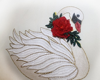 swan  machine embroidery design- swan  embroidery
