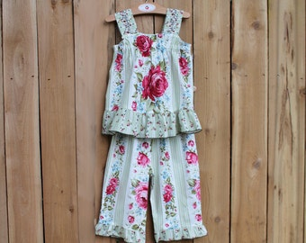 Floral Rose Toddler Summer Outfit Capri Ruffle Pant & Top Set Cotton Toddler Girl Clothes Boho Kids Clothes Child Clothing 18m 2T 3T 4T 5 6