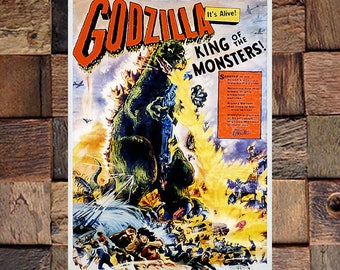 Godzilla King of Monsters Vintage Japanese Movie Ad, Japanese Movie Art, Godzilla Poster, Vintage Art,Giclee Art Print,Fine Art Reproduction