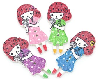 5 large wood buttons - Girls - multicolored - 2 holes - 3.7 x 1.7 cms