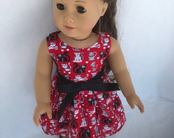 18 inch doll dress made of black and gray and white cats throughout, made to fit 18 inch dolls such as American Girl Dolls and others