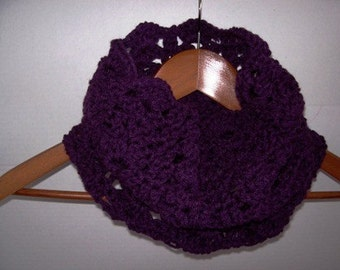 Scarf Alternative Plum Colored Scalloped Cowl by Kams-store.com