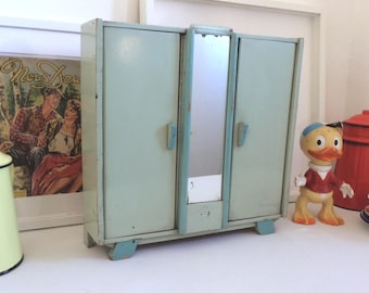 Small piece of furniture on wooden base with mirror, kitchen, bedroom, bathroom. 1950's