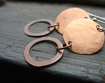 Copper Earrings, Handmade Dangle Drop Copper Earrings, Metalwork Copper Double Full Circle Hoop Earrings, Handmade Jewelry
