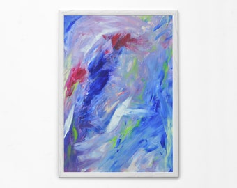 Large Abstract Acrylic Painting Print, Modern Wall / Home Art, Contemporary Living room, Cafe, Bar, Office Decoration, Blue Purple White