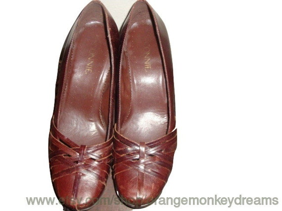 boho chestnut size 9 vintage 1 heels hipster Brown leather shoes indie woven vamp pump Brazil 2 women zTwpnqdTO