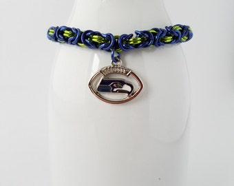 Seattle Seahawks football team chain maille bracelet with Seahawks logo charm