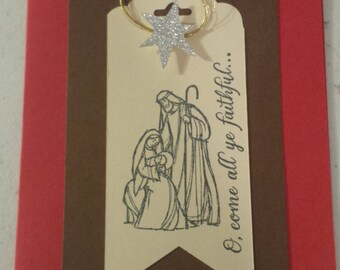Christmas Card, Homemade Greeting Card, Merry Christmas Card, Holiday Greetings, Holiday Wishes, Christmas Greetings, Nativity Tag