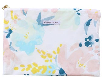Mint and Navy Floral Zippered Wet Bag  | Mint & Navy Baby Girl Travel Bag | Cloth Diaper Zip Pouch |  Isla's Fresh Floral Wet Bag