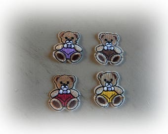 heat-sealed badges 4 patches / appliques bear Teddy bear 3.3 * 3 cm