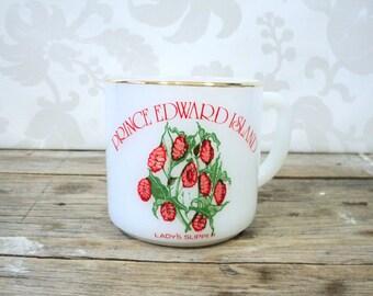 Coffee cup, Province of Canada souvenir Prince Edward Island, PEI, coffee mug, teacup, lady slipper flower