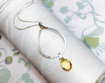 Sterling Silver - Citrine Hoop necklace / silver necklace / November necklace / genuine citrine gemstone pendant