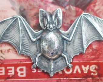 Bat Brass Stamping, Bats, Gothic Jewelry, Metal Bats, Sterling Silver Finish, Brass Stampings for Jewelry Making and Crafting