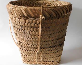 Vintage Wicker Basket Backback Market Basket