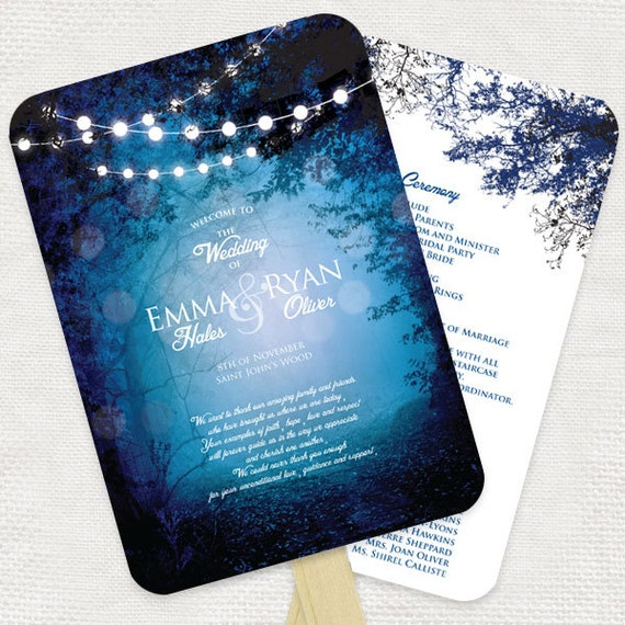 Unique Wedding Ideas Ceremony In The Woods: Into The Woods Wedding Ceremony Program Fan Diy Printable File