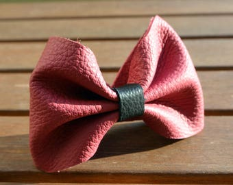 Pink leather bow Cuff Bracelet