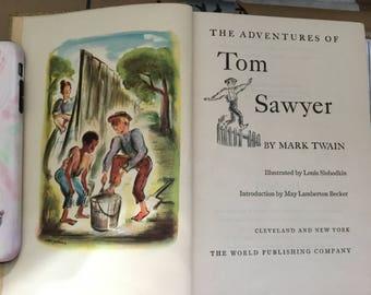 Vintage Adventures of Tom Sawyer - Hardback Book By MARK TWAIN - Dated 1948