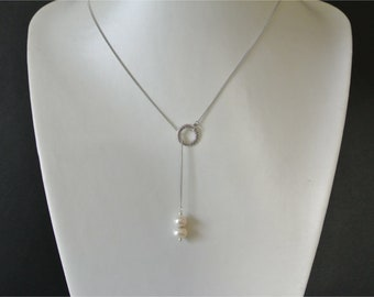 Pendant necklace very refined Lariat consisting of two freshwater pearls on a chain in silver, 47 cm