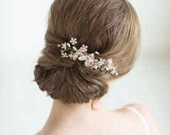 Gold Bridal Hair comb, Wedding Headpiece, Rose Gold Wedding Hair comb, Pearl Wedding Hair Comb