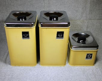 Retro Kitchen Lincoln Beautyware Set of 3 Tin Containers - Flower, Sugar, Coffee