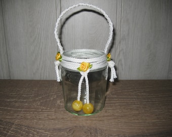 Candle/flower pot 'Mirabelle' halyard glass beads