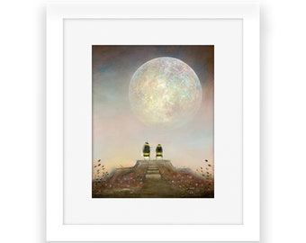 Bee Art Print, Astronomy Gift, Quirky Gift Idea, Father's Day Gift, Full Moon Print, Nursery Decor, Insect Wall Art, Gardener's Gift Idea