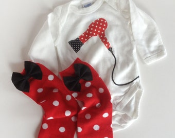 Hair Dryer One Piece and Polka Dotted Baby Leg Warmers Hair Dresser Stylist
