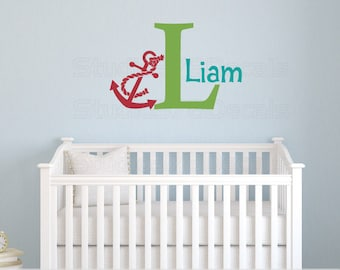 Boys Anchor Name Wall Decal | Nautical Nursery Decor | Seaside Decor | Nautical Kids Decor | Beach Wall Decal | Personalized Name Decal |