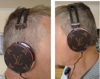 Louis Vuitton customised headphones with re-worked original LV fabric on each end bin... good quality boxed