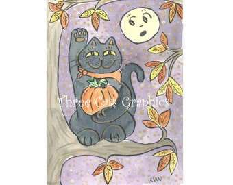 An Autumn Good Luck Wish - Choose from ACEO Print, Note Card with Stickers, or Art Print