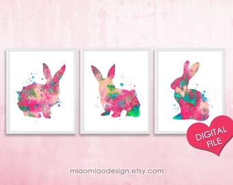 PRINTABLE Bunny Watercolor Print, Set of 3, Bunny Printable, Bunny Print Nursery, Bunny Wall Art, Rabbit Nursery Printable, Girl Nursery Art