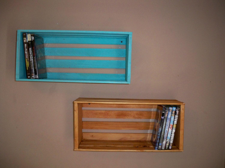rustic wood crate shelvingwood crate shelving wall decor rh etsy com wall shelf for dvd player CD DVD Wall Shelves