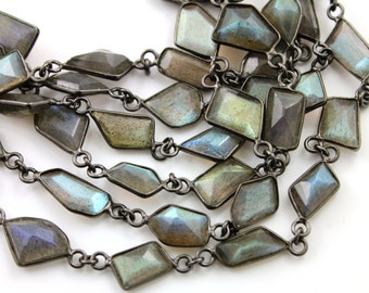 Labradorite Fancy Shape Bezel Chain, Lab Fancy Shape Connector Chain linked sold in Sterling Silver with Antique finish, (GMC-BZ-302)