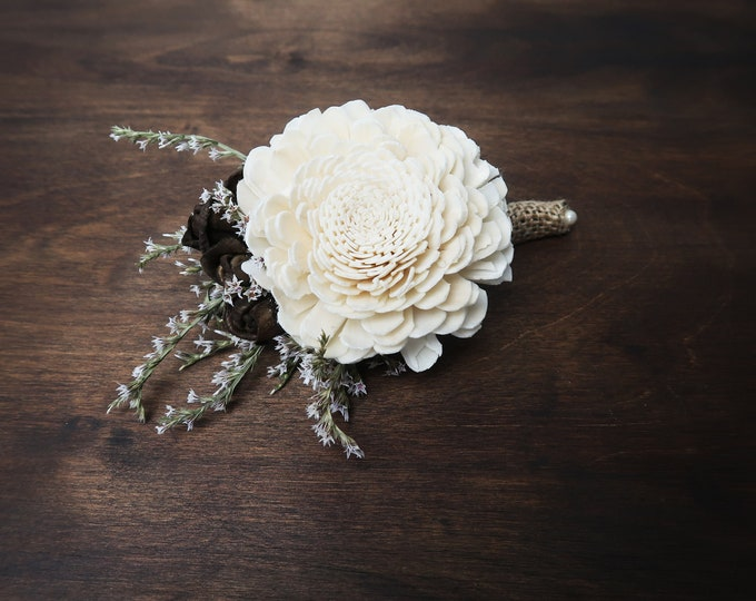 Ivory brown rustic wedding BOUTONNIERE groom groomsman Sola Flower dried limonium flowers burlap pearl
