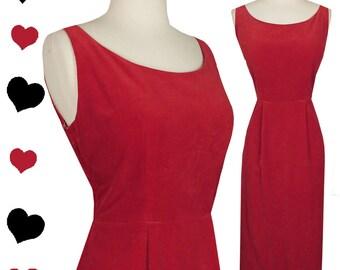 Vintage 50s Dress / Rockabilly Dress / Pinup Dress / Red Velvet Dress / Velveteen Cotton S M Small Medium Sheath Wiggle Sleeveless 1950s